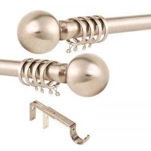 satin silver metal curtain pole